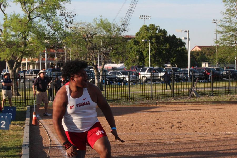 Eli Carter '20 gets hyped as he throws a new PR of 52 ft taking 5th place overall.